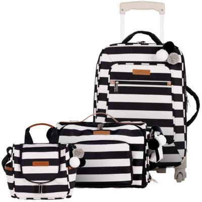 Imagem 1 do produto Mala maternidade com rodízio + Bolsa 2 em 1 Julie + Frasqueira térmica Emy Brooklyn Black and White - Masterbag