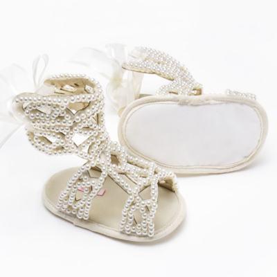Imagem 2 do produto Sandália Gladiadora para bebe Pérolas Marfim - Roana - GLA00001031 Sandália Gladiadora Marfim -P