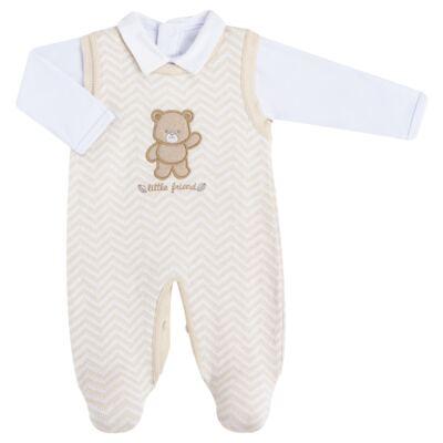 Imagem 1 do produto Jardineira c/ Body longo para bebê em tricot Nature Little Friends - Mini & Classic - 1606650 JARDINEIRA C/ BODY TRIC/SUED NATURE-P