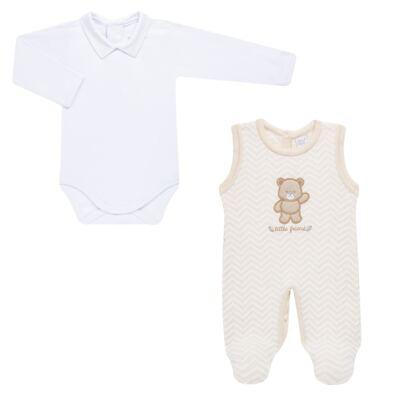 Imagem 2 do produto Jardineira c/ Body longo para bebê em tricot Nature Little Friends - Mini & Classic - 1606650 JARDINEIRA C/ BODY TRIC/SUED NATURE-P