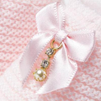 Imagem 2 do produto Sapatinho para bebe em tricot Laço Strass & Pérolas Rosa - Roana - STD00038046 Sapato em Tricot Detalhe Laço Rosa