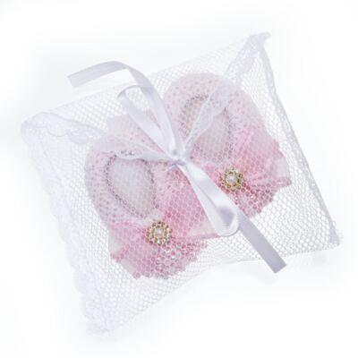 Imagem 4 do produto Sapatinho para bebe em tricot Laço Strass & Pérolas Rosa - Roana - STD00142046 Sapato Tricot Pérolas Rosa