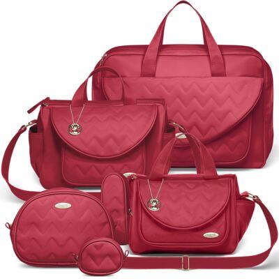 Imagem 1 do produto Mala Maternidade para bebe + Bolsa Gênova + Frasqueira Térmica Nápoli + Kit Acessórios Chevron Rubi - Classic for Baby Bags