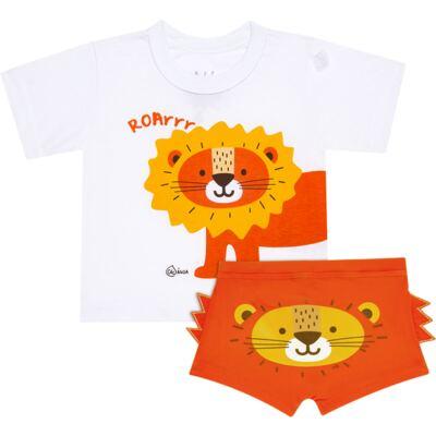Imagem 1 do produto Conjunto de Banho Lion: Camiseta + Sunga Boxer - KIT 1 1922 CCAB+SBB LEAOZINHO-G