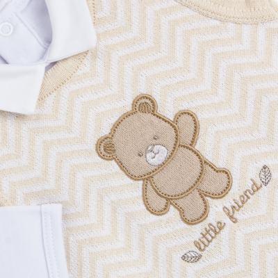 Imagem 3 do produto Jardineira c/ Body longo para bebê em tricot Nature Little Friends - Mini & Classic - 1606650 JARDINEIRA C/ BODY TRIC/SUED NATURE-RN