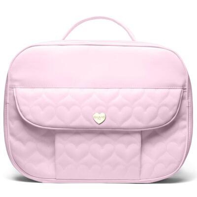 Imagem 2 do produto Kit Mala Maternidade para bebe + Bolsa Málaga + Trocador Portátil Corações Matelassê Rosa - Classic for Baby Bags