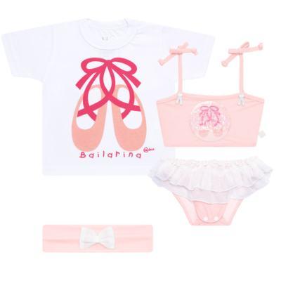 Imagem 1 do produto Conjunto de Banho Ballet: Camiseta + Biquíni + Tiara - Cara de Criança - KIT1-1268: BB1268 BIQUINI + CCAB1268 CAMISETA BAILARINA-G