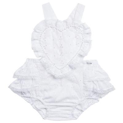 Imagem 1 do produto Jardineira para bebe em laise Pérolas Deluxe - Roana - JL000927001 Jardineira Luxo Branco-G