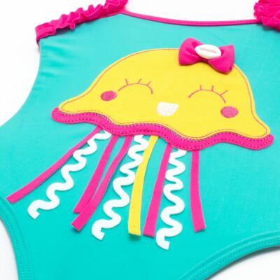 Imagem 3 do produto Conjunto de banho Jellyfish: Maiô + Chapéu - Cara de Criança - KIT1-1264: MB1264 MAIO + CH1264 CHAPEU AGUA VIVA-M