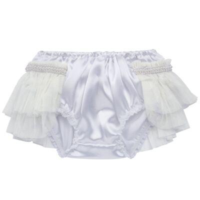 Imagem 2 do produto Calcinha para bebê Cetim Laço Tule & Pérolas Branca - Roana - CLES0033001 Calcinha Especial Branco-P