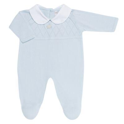 Imagem 2 do produto Jogo Maternidade com Macacão e Manta em tricot Bleu - Petit - 47104420 Jogo Maternidade c/ Gola Tricot/Fus Azul -P