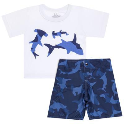 Imagem 1 do produto Camiseta com Bermuda em tactel Shark - Cara de Criança - KIT 1 2311 CCA+BT TUBARAO-1