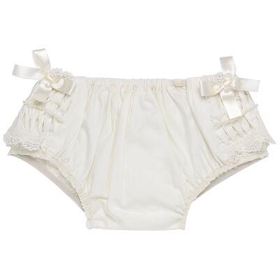 Imagem 3 do produto Calcinha para bebê em tricoline Renda Laços & Pérolas Marfim - Roana - CLLU0616031 Calcinha Luxo Laço Pérolas Marfim -P