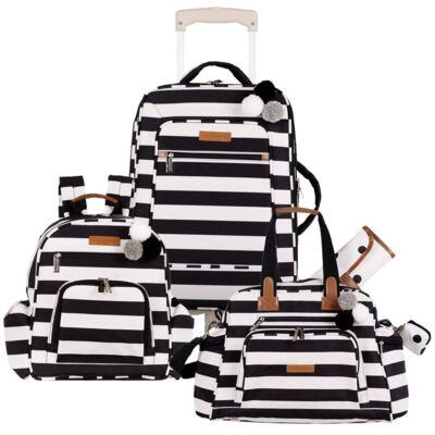 Imagem 1 do produto Mala maternidade com rodízio + Bolsa Everyday + Mochila Noah Brooklyn Black and White - Masterbag