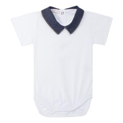 Imagem 3 do produto Jardineira c/ Body curto para bebe em fleece Denim - Roana - 11442034493 Jardineira com Body Jeans-G