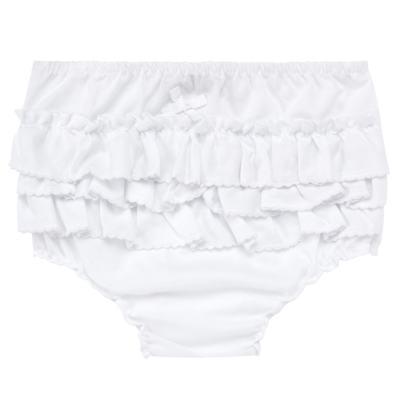 Imagem 1 do produto Calcinha Babadinhos para bebe em fustão Branca - Mini Sailor - 56024447 CALCINHA C/BABADO AVULSA TRICOLINE BRANCO-6-9