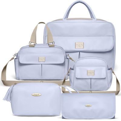 Imagem 1 do produto Mala Maternidade para bebe + Bolsa Marselle + Frasqueira Térmica Toulousse + Necessaire + Trocador Nácar Azul  - Classic for Baby Bags