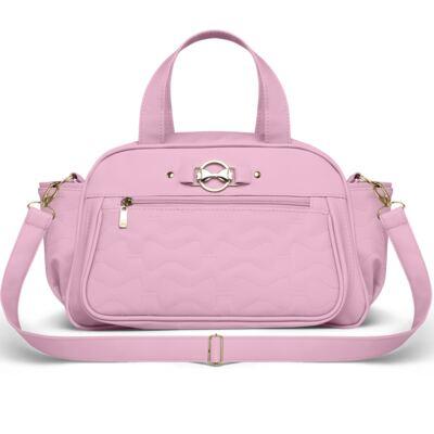 Imagem 3 do produto Bolsa maternidade para bebe Liverpool + Frasqueira Térmica Melrose + Trocador Portátil Laços Matelassê Rosa - Classic for Baby Bags