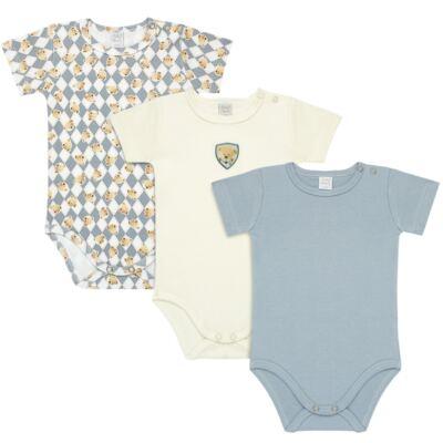 Imagem 1 do produto Pack: 03 Bodies curtos para bebe em suedine Argyle Bear - Baby Classic - 3671326 PACK 3 BODIES M/C SUEDINE CLASSIC BEAR-G