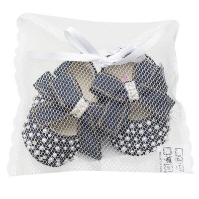 Imagem 2 do produto Sapatilha para bebe Laço & Pérolas Jeans - Roana - 20040039493 SAPATILHA LUXO JEANS -RN