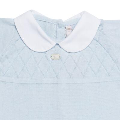 Imagem 3 do produto Jogo Maternidade com Macacão e Manta em tricot Bleu - Petit - 47104420 Jogo Maternidade c/ Gola Tricot/Fus Azul -RN