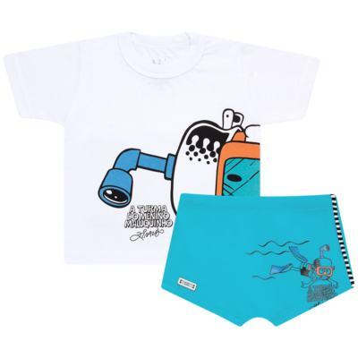 Imagem 1 do produto Conjunto de Banho Maluquinho Mergulhador: Camiseta + Sunga - Cara de Criança - KIT1-1308: SB1308 SUNGA + CCA1308 CAMISETA PIRATA MALUQUINHO-6