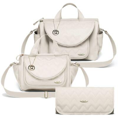 Imagem 1 do produto Bolsa maternidade para bebe Gênova + Frasqueira Térmica Nápoli + Trocador Portátil Chevron Ágata - Classic for Baby Bags