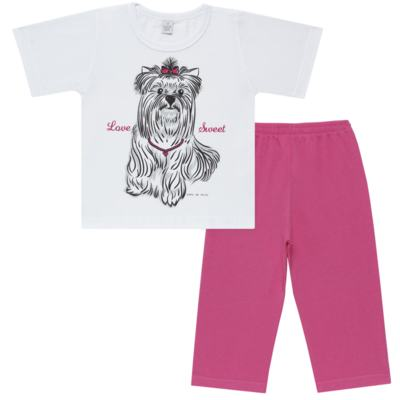 Imagem 1 do produto Pijama Curto em malha Cachorrinha - Cara de Sono - C2005 DOG LOVE C PJ-MG CURTA C/CALCA M/MALHA-3