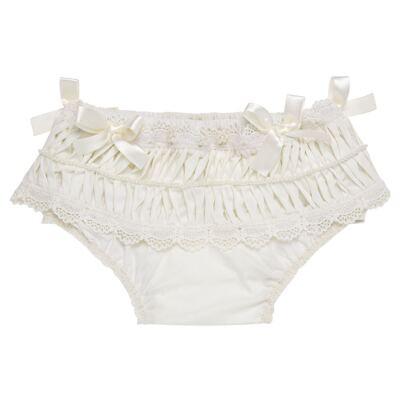 Imagem 1 do produto Calcinha para bebê em tricoline Renda Laços & Pérolas Marfim - Roana - CLLU0616031 Calcinha Luxo Laço Pérolas Marfim -G