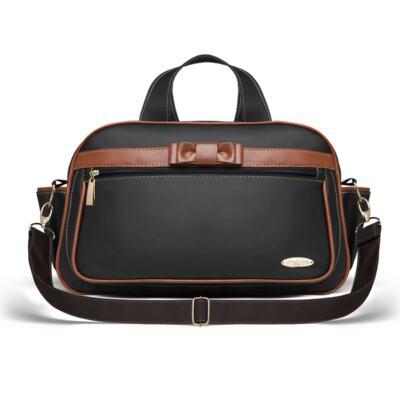 Imagem 3 do produto Kit Mala Maternidade + Bolsa Viagem Oxford + Frasqueira Térmica Kent Laço Caramel Preto - Classic for Baby Bags