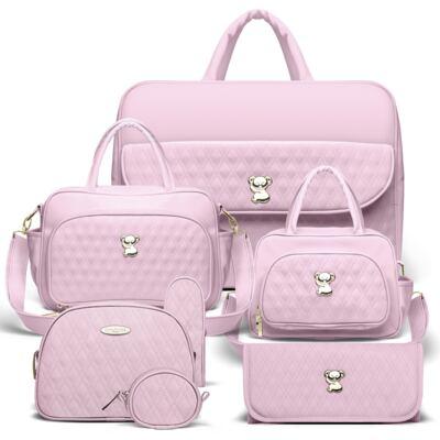 Imagem 1 do produto Kit Mala Maternidade para bebe + Bolsa Veneza + Frasqueira Térmica Milão + Kit Acessórios + Trocador Golden Koala Rosa - Classic for Baby Bags