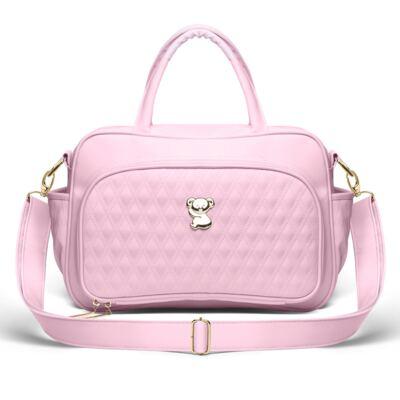 Imagem 3 do produto Kit Mala Maternidade para bebe + Bolsa Veneza + Frasqueira Térmica Milão + Kit Acessórios + Trocador Golden Koala Rosa - Classic for Baby Bags