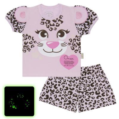 Imagem 1 do produto Pijama curto que Brilha no Escuro Onça Pintada - Cara de Criança - U1820 ONCA PINTADA PIJAMA-CURTO M/MALHA -3