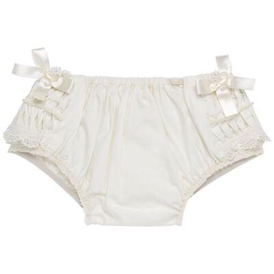 Imagem 3 do produto Calcinha para bebê em tricoline Renda Laços & Pérolas Marfim - Roana - CLLU0616031 Calcinha Luxo Laço Pérolas Marfim -M