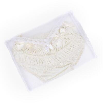 Imagem 4 do produto Calcinha para bebê em tricoline Renda Laços & Pérolas Marfim - Roana - CLLU0616031 Calcinha Luxo Laço Pérolas Marfim -RN