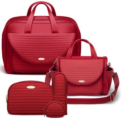 Imagem 1 do produto Kit Mala Maternidade para bebe + Bolsa Renan + Kit Acessórios Golden Vermelho- Classic for Baby Bags