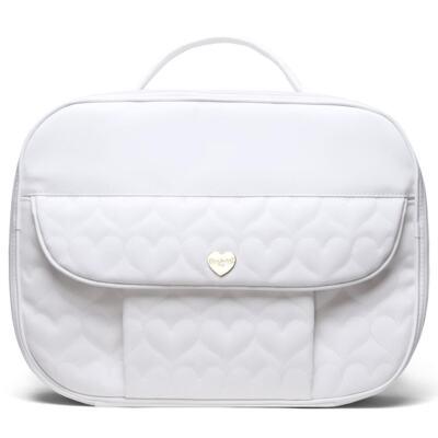 Imagem 2 do produto Kit Mala Maternidade para bebe + Bolsa Málaga + Trocador Portátil Corações Matelassê Branco - Classic for Baby Bags