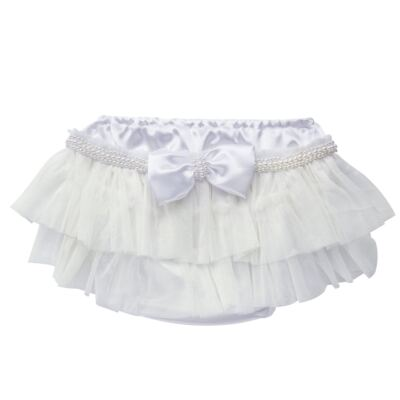 Imagem 1 do produto Calcinha para bebê Cetim Laço Tule & Pérolas Branca - Roana - CLES0033001 Calcinha Especial Branco-M