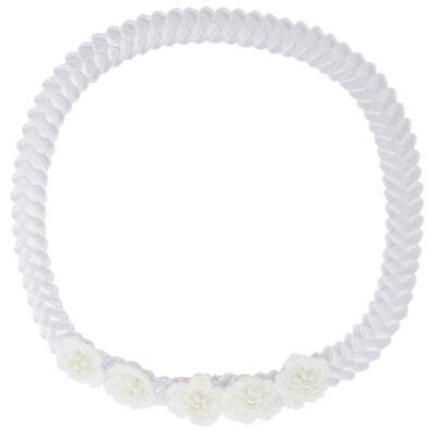 Imagem 1 do produto Faixa de cabelo trançada Flores & Pérolas Branca - Roana - 23840033001 Faixa trançada detalhe Branco