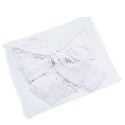 Imagem 4 do produto Conjunto de banho para bebê Coração & Pérolas: Bumbum + Faixa de Cabelo - Roana - BASTL927001 BANHO DE SOL TURBANTE LUXO 125 BRANCO-G