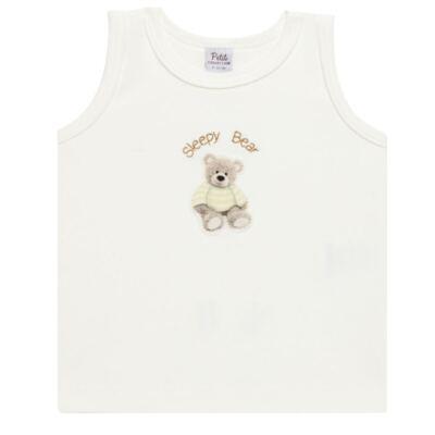 Imagem 2 do produto Regata c/ Cobre fralda para bebe em algodão egípcio Ursinho - Petit - 17944346 REGATA C/ COBRE FRALDA SUED.VISCO URSO NEUTRO -GG