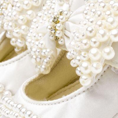 Imagem 4 do produto Sapatilha para bebe em cetim Laço Pérolas & Strass Marfim - Roana - SPL00034031 Sapatilha Luxo Laço Pérolas Marfim -P