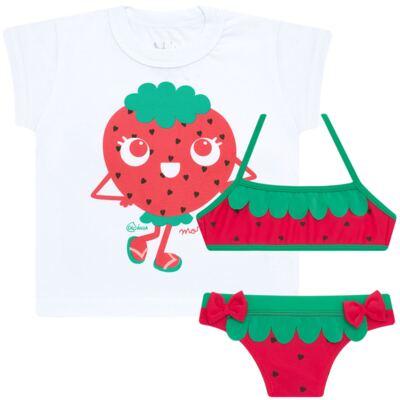 Imagem 1 do produto Conjunto de Banho Strawberry: Camiseta + Biquíni - Cara de Criança - KIT2-1253: B1253 BIQUINI + CCA1253 CAMISETA MORANGUINHO-3