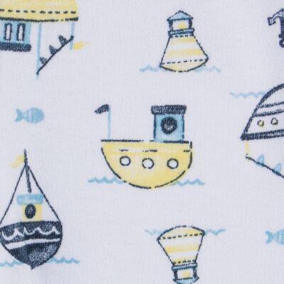 Imagem 4 do produto Pack 2 mijões para bebe com pé reversível em algodão egípcio c/ jato de cerâmica Summer Boats - Mini & Classic - 1025666 PACK 2 MIJOES SUEDINE SUMMER-P