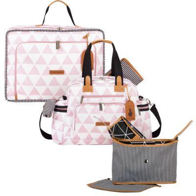 Imagem 1 do produto Mala maternidade Vintage + Bolsa Everyday + Frasqueira Organizadora Manhattan Rosa - Masterbag