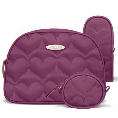 Imagem 4 do produto Kit Bolsa maternidade para bebe Málaga + Frasqueira Térmica Valência + Kit Acessórios Corações Matelassê Vinho - Classic for Baby Bags