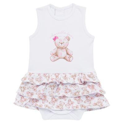 Imagem 1 do produto Body Vestido para bebe em algodão egípcio com jato de cerâmica Princess Bear - Mini & Classic - 0407655 BODY VESTIDO REG SUEDINE URSA -M