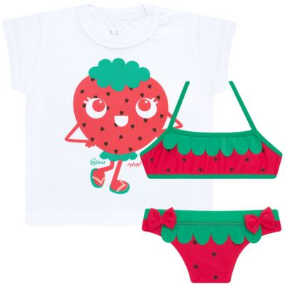 Imagem 1 do produto Conjunto de Banho Strawberry: Camiseta + Biquíni - Cara de Criança - KIT2-1253: B1253 BIQUINI + CCA1253 CAMISETA MORANGUINHO-6
