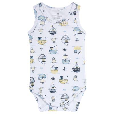 Imagem 1 do produto Body regata para bebe em algodão egípcio c/ jato de cerâmica Summer Boats - Mini & Classic - BDR666 BODY REGATA SUEDINE SUMMER-G