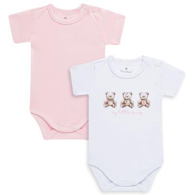 Imagem 1 do produto Pack: 02 Bodies curtos para bebe em algodão egípcio c/ jato de cerâmica Princess Bear - Mini & Classic - 1024655 PACK 2 BODIES MC SUEDINE URSA-M